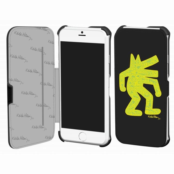 キース・へリング コレクション PUレザー手帳型ケース ドッグ/ブラック x イエロー iPhone 6ケース