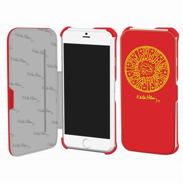 【iPhone6ケース】キース・へリング コレクション PUレザー手帳型ケース レディエント ベビィ/レッド x イエロー iPhone 6ケース_0