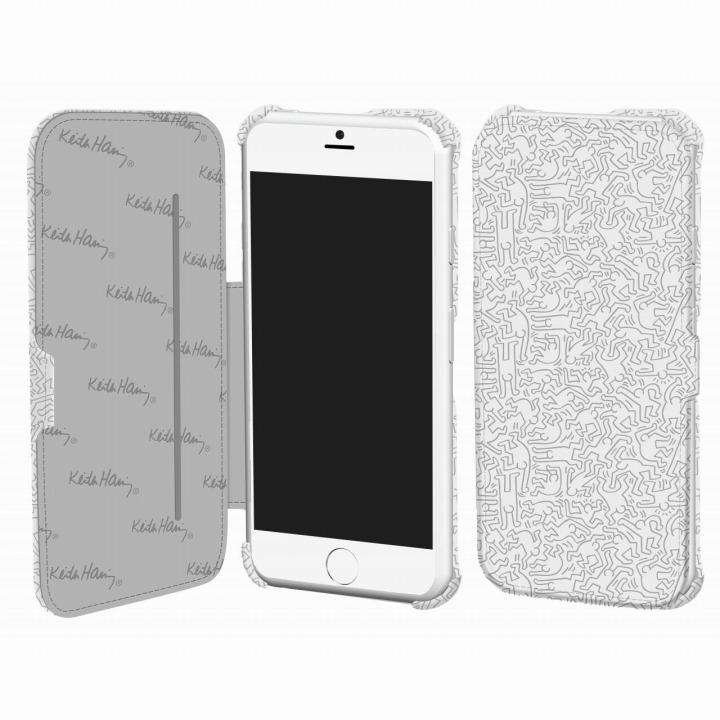 キース・へリング コレクション PUレザー手帳型ケース ピープル/ホワイト x シルバー iPhone 6ケース