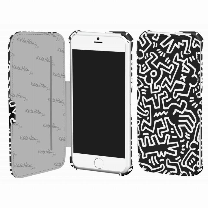 キース・へリング コレクション PUレザー手帳型ケース カオス/ブラック x ホワイト iPhone 6ケース