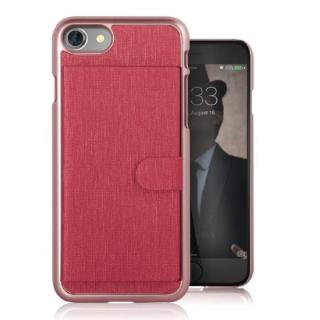 カードポケット搭載 メタルライン風ハードケース META POCKET レッド iPhone 7