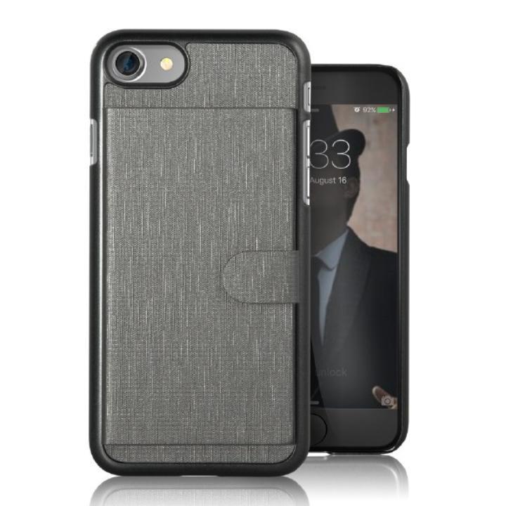 カードポケット搭載 メタルライン風ハードケース META POCKET グレイ iPhone 7