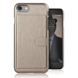カードポケット搭載 メタルライン風ハードケース META POCKET ゴールド iPhone 7