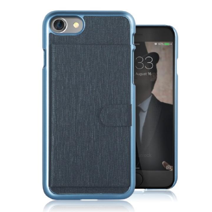 カードポケット搭載 メタルライン風ハードケース META POCKET ネイビー iPhone 7