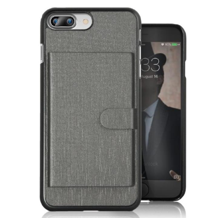 カードポケット搭載 メタルライン風ハードケース META POCKET グレイ iPhone 7 Plus