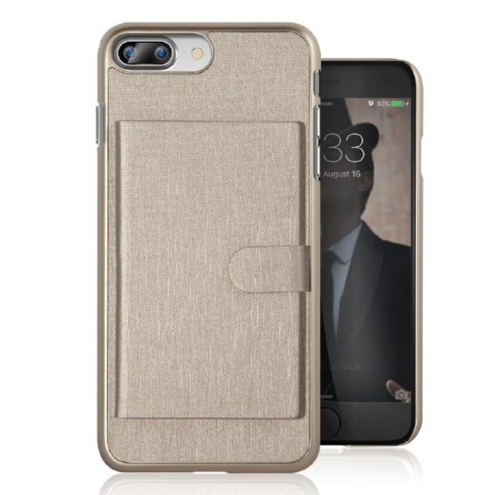 カードポケット搭載 メタルライン風ハードケース META POCKET ゴールド iPhone 7 Plus