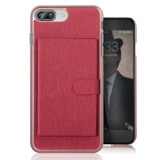 カードポケット搭載 メタルライン風ハードケース META POCKET レッド iPhone 7 Plus