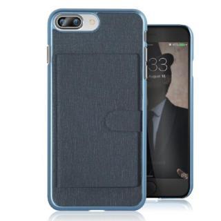 カードポケット搭載 メタルライン風ハードケース META POCKET ネイビー iPhone 7 Plus