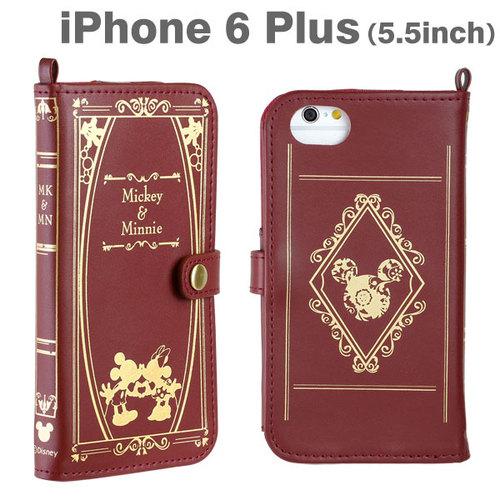 【iPhone6 Plusケース】ディズニーキャラクター/Old Book 手帳型ケース (ミッキー&ミニー/バーガンディ) iPhone 6 Plusケース_0