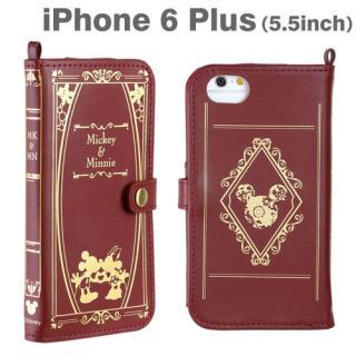 ミッキー&ミニー/バーガンディ 手帳型ケース iPhone 6 Plus