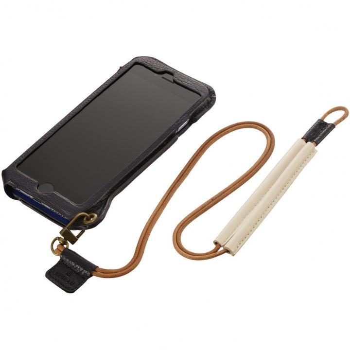 BZGLAM ネックストラップ付レザーケース ブラック iPhone 6s