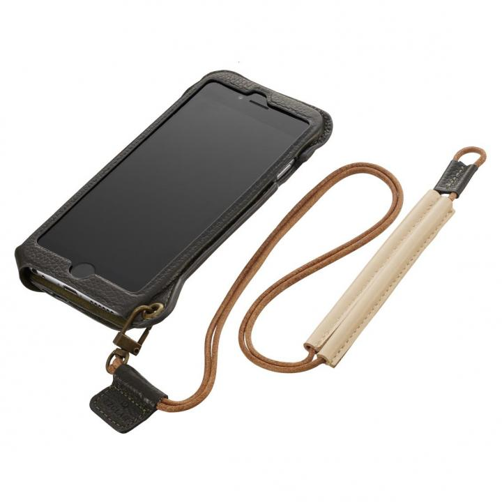 iPhone6s ケース BZGLAM ネックストラップ付レザーケース カーキ iPhone 6s/6_0