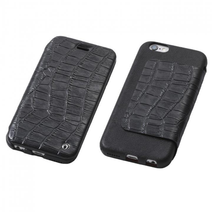 【iPhone6s/6ケース】Deff Luxury 天然レザー手帳型ケース ブラック iPhone 6s/6_0