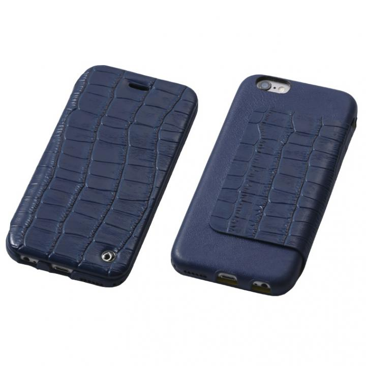 【iPhone6s/6ケース】Deff Luxury 天然レザー手帳型ケース ミッドナイトブルー iPhone 6s/6_0