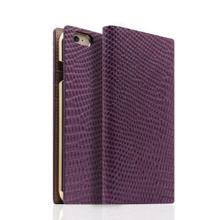iPhone6s/6 ケース SLG Design リザード革風型押しレザー手帳型ケース パープル iPhone 6s/6