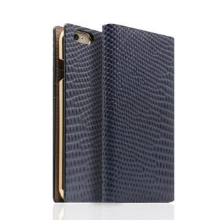 SLG Design リザード革風型押しレザー手帳型ケース ブルー iPhone 6s/6