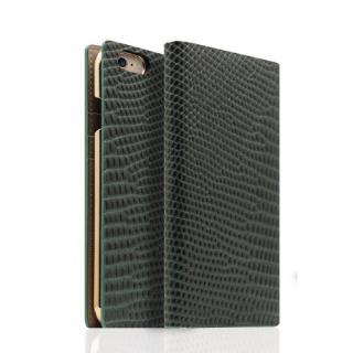 SLG Design リザード革風型押しレザー手帳型ケース グリーン iPhone 6s/6