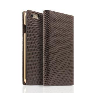 SLG Design リザード革風型押しレザー手帳型ケース ブラウン iPhone 6s/6