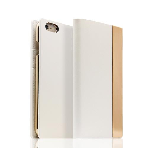 SLG Design メタルデザインレザー手帳型ケース ホワイト iPhone 6s/6