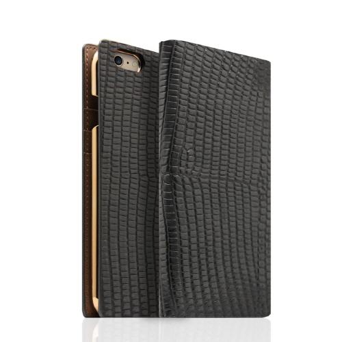 iPhone6s/6 ケース SLG Design リザード革風型押しレザー手帳型ケース ブラック iPhone 6s/6_0