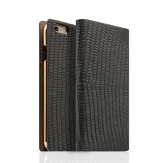SLG Design リザード革風型押しレザー手帳型ケース ブラック iPhone 6s/6