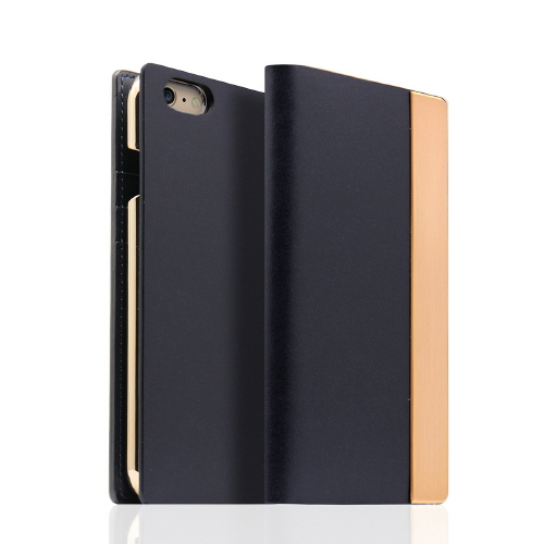 iPhone6s/6 ケース SLG Design メタルデザインレザー手帳型ケース ネイビー iPhone 6s/6_0