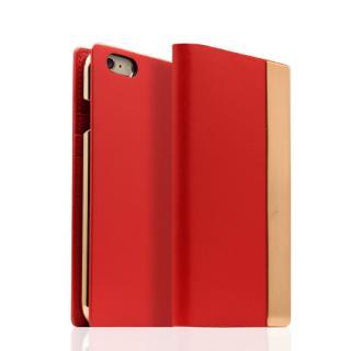 SLG Design メタルデザインレザー手帳型ケース レッド iPhone 6s/6