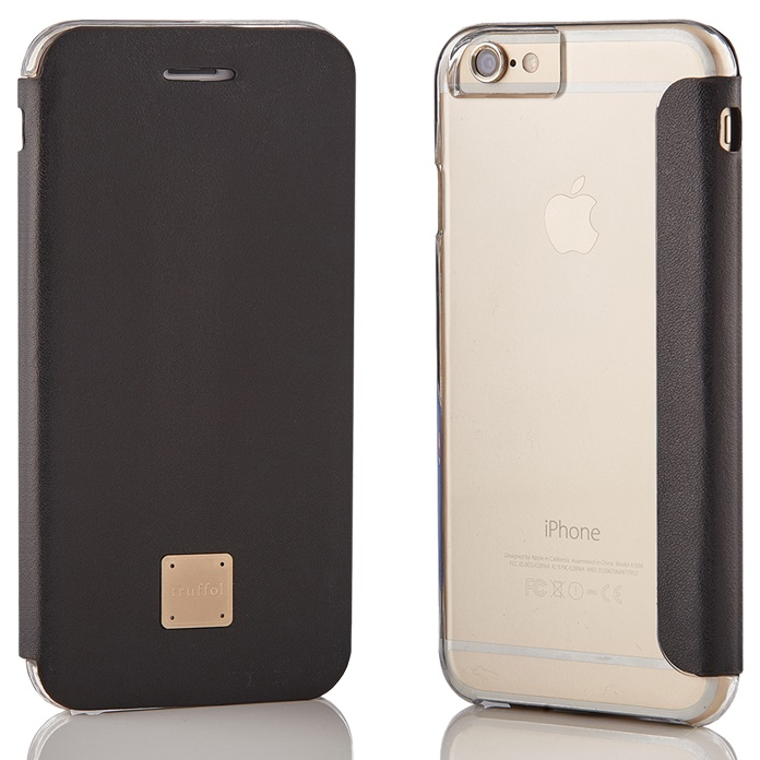 iPhone6s/6 ケース truffol 背面クリア カウハイドレザー手帳型ケース ブラック iPhone 6s/6_0