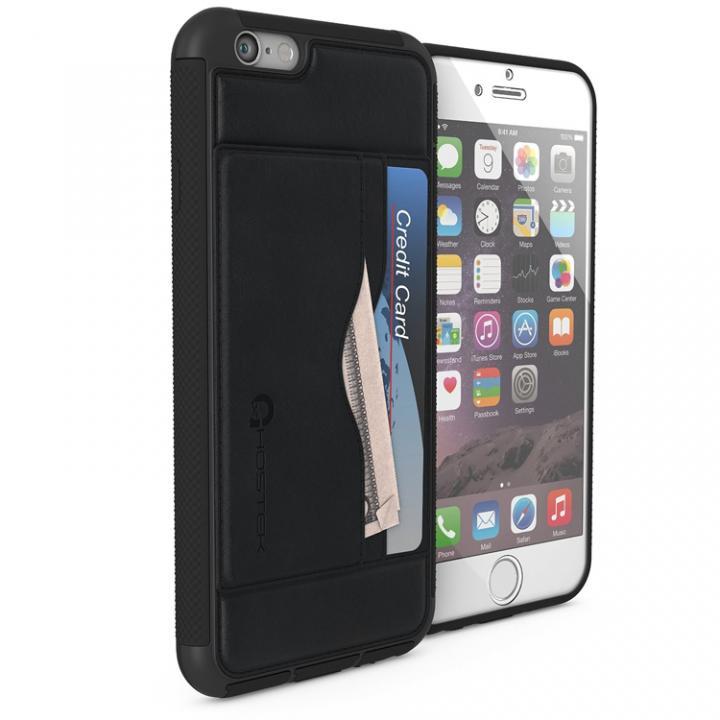 強化ガラス付きPUレザーケース Ghostek Stash ブラック iPhone 6s/6