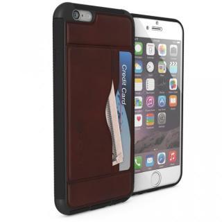 【iPhone6】強化ガラス付きPUレザーケース Ghostek Stash ダークブラウン iPhone 6s/6