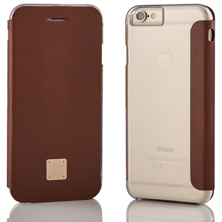 iPhone6s/6 ケース truffol 背面クリア カウハイドレザー手帳型ケース ブラウン iPhone 6s/6_0