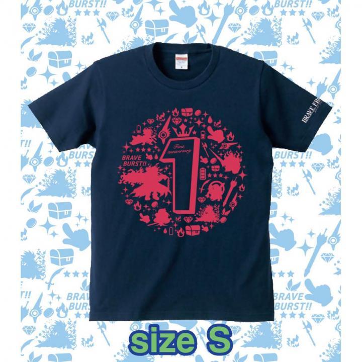 ブレイブフロンティア1周年記念Tシャツ(ネイビー×ピンク)Sサイズ_0