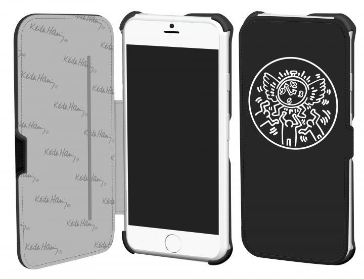 キース・へリング コレクション PUレザー手帳型ケース ウォッチ/ブラック x ホワイト iPhone 6ケース