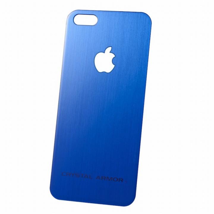 クリスタルアーマー 強化ガラス バックプロテクター ブルー iPhone SE/5s/5