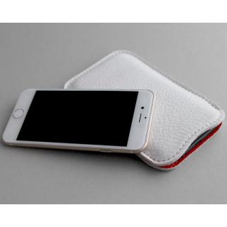 【iPhone6s/6ケース】職人が作るシュリンクレザースリーブ iPhone 6s/6 ジャストフィット ホワイト×レッド_5