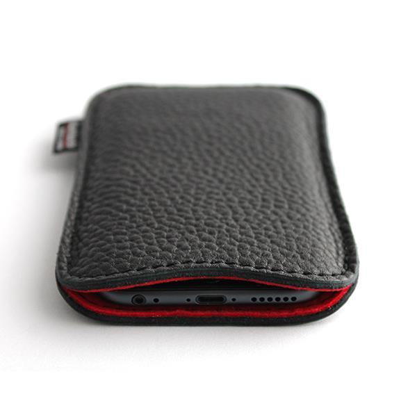 職人が作るシュリンクレザースリーブ iPhone 6s/6 ジャストフィット ブラック×レッド