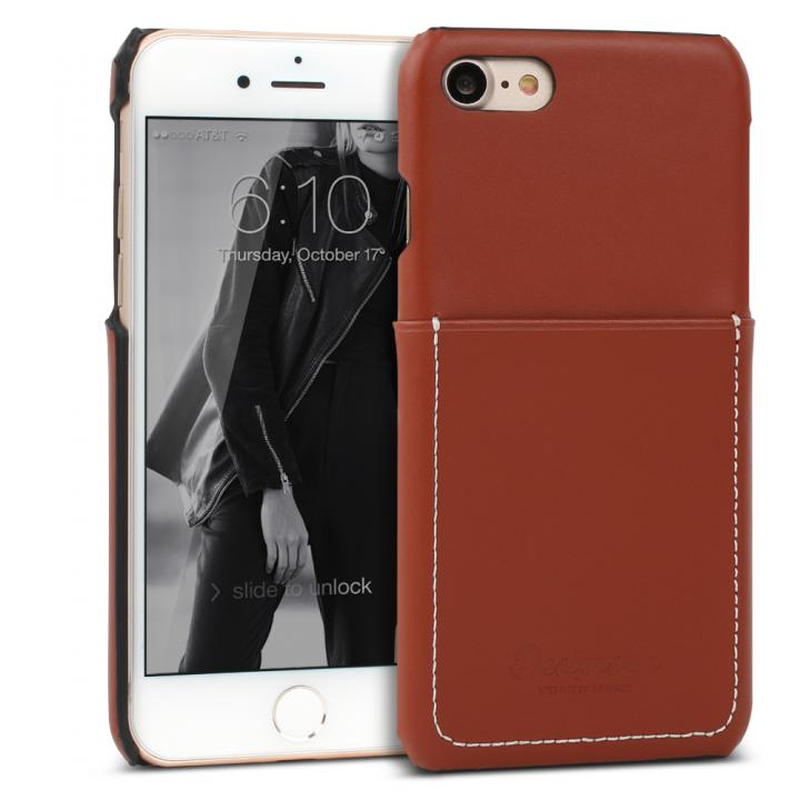 DESIGNSKIN 牛革ポケットケース レッドブラウン iPhone 7