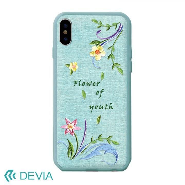【iPhone Xケース】Devia Flower Embroidery ケース ブルー iPhone X_0