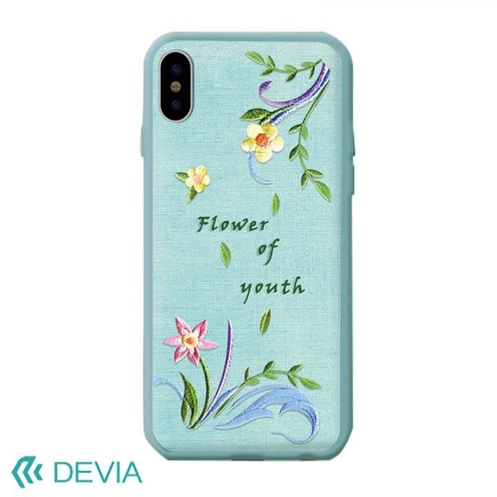 Devia Flower Embroidery ケース ブルー iPhone X