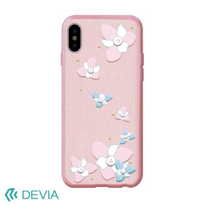 Devia Flower Embroidery ケース ピンク iPhone X