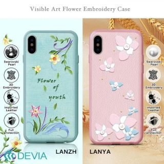 【iPhone Xケース】Devia Flower Embroidery ケース ピンク iPhone X_5