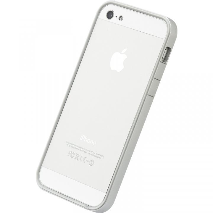 【iPhone SE/5s/5ケース】フラットバンパーセット  iPhone5(シルバー&ホワイト)_0
