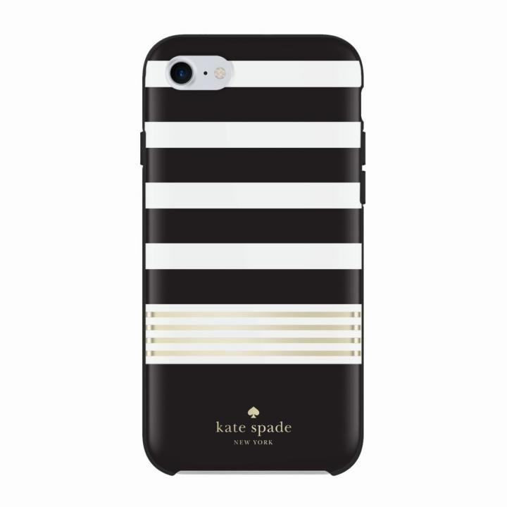 kate spade new york ハードケース Stripe2 Black/White/Gold iPhone 8/7/6s/6