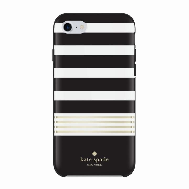 kate spade new york ハードケース Stripe2 Black/White/Gold iPhone 8/7/6s/6