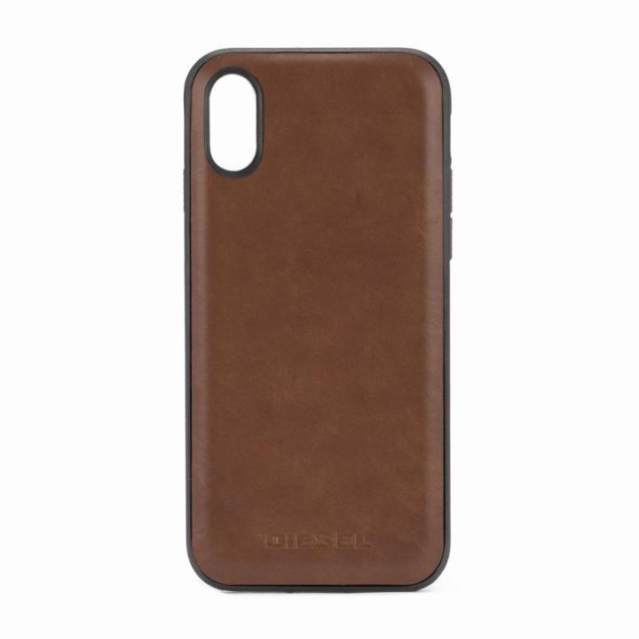 DIESEL レザーカバーケース ダークブラウン iPhone X