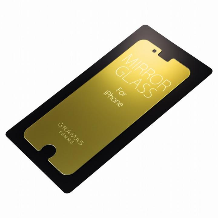 【iPhone6s/6フィルム】GRAMAS FEMME 簡易ミラー機能付き強化ガラス ゴールド iPhone 6s/6_0