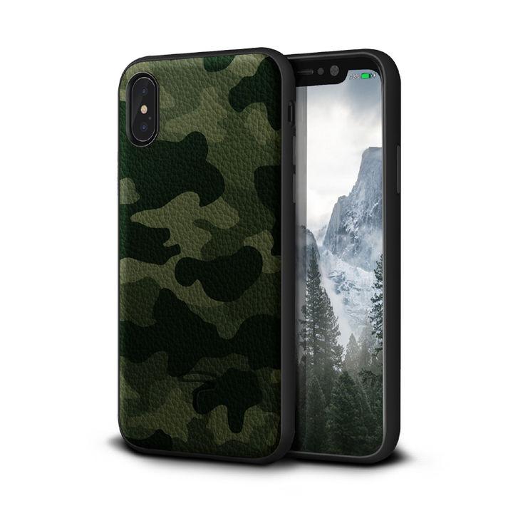 iPhone XR ケース Toria Design Camo 牛本革背面ケース アーミー iPhone XR_0