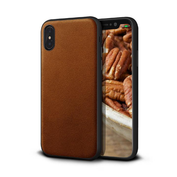 iPhone XS/X ケース アルカンターラ 背面ケース ブラウン iPhone XS/X_0