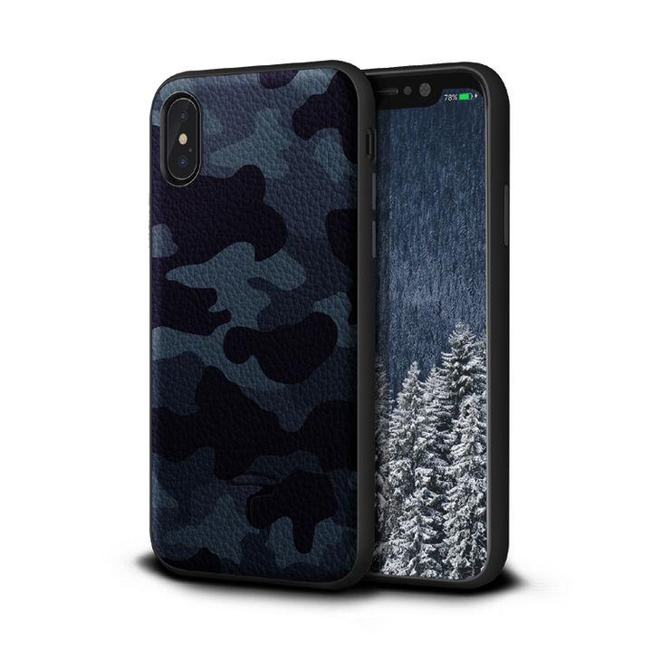 iPhone XR ケース Toria Design Camo 牛本革背面ケース ネイビー iPhone XR_0