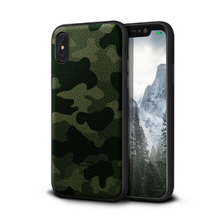 iPhone XR ケース Toria Design Camo 牛本革背面ケース アーミー iPhone XR